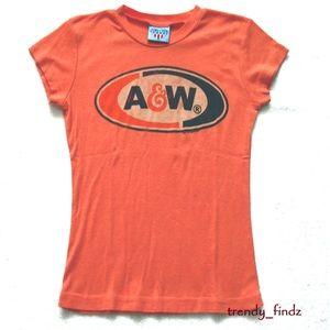 JUNK FOOD retro vintage A&W orange tee tshirt sz S
